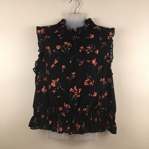 J. Crew floral sleeveless blouse ruffle detail 14